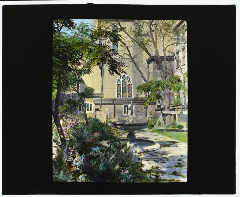"Title: [""Jones Wood"" townhouses, East 65th and East 66th Streets between Lexington and Third Avenues, New York, New York. View from garden to St. Vincent Ferrer church] Creator(s): Johnston, Frances Benjamin, 1864-1952, photographer Date Created/Published: [1921] Medium: 1 photograph : glass lantern slide, hand-colored ; 3.25 x 4 in. Call Number: LC-J717-X98- 72 [P&P]"