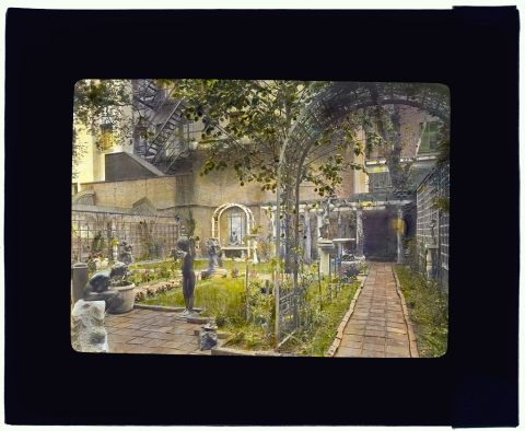 Title: [The Touchstone Garden, New York, New York. Sculpture exhibition] Creator(s): Johnston, Frances Benjamin, 1864-1952, photographer Date Created/Published: [1919 summer] Medium: 1 photograph : glass lantern slide, hand-colored ; 3.25 x 4 in. Call Number: LC-J717-X104- 48 [P&P]
